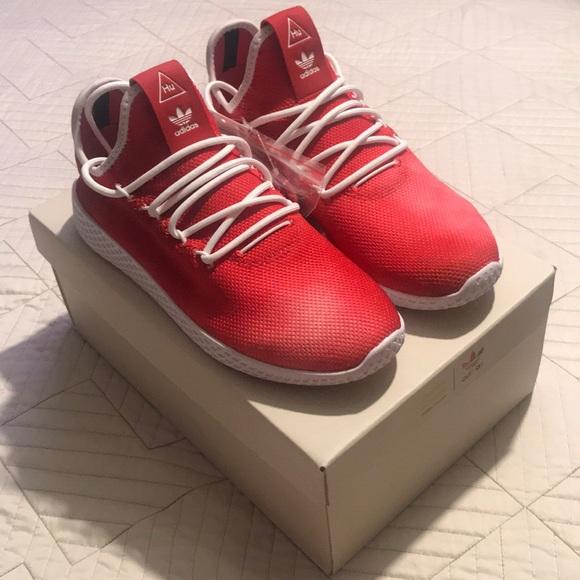 the best attitude db42b 3c037 Adidas Pharrell Williams red HU shoes NWT